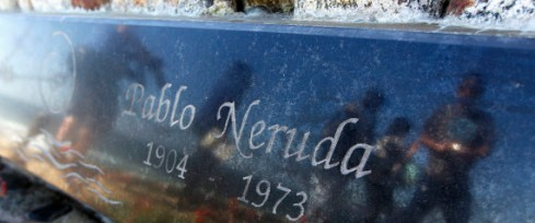 A view of the tombstone of Chilean poet and Nobel laureate Pablo Neruda before the exhumation of his remains in Isla Negra